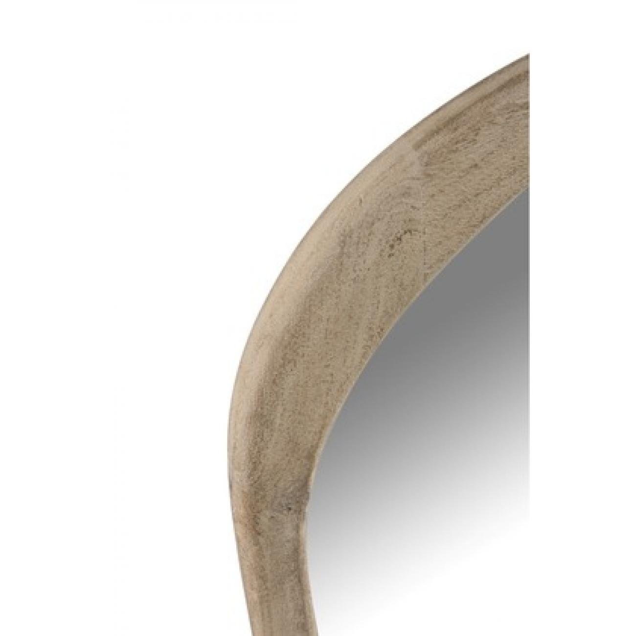 Зеркало J-LINE настенное фигурное в раме из натурального дерева манго в серо коричневых оттенках 83х51 см Бельгия