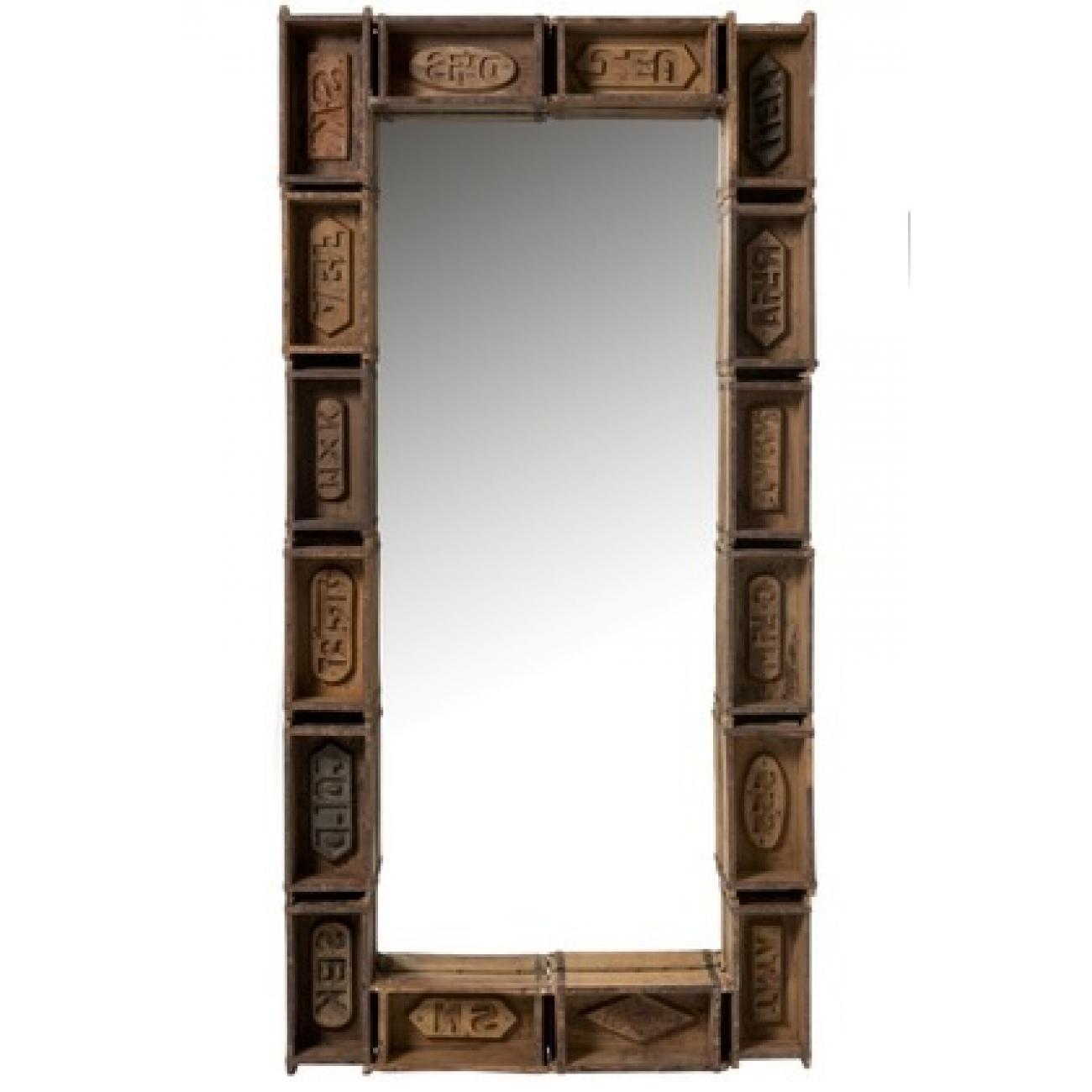 Зеркало J-LINE прямоугольное настенное в деревянной раме с резными элементами из натурального дерева 90х180 см Бельгия