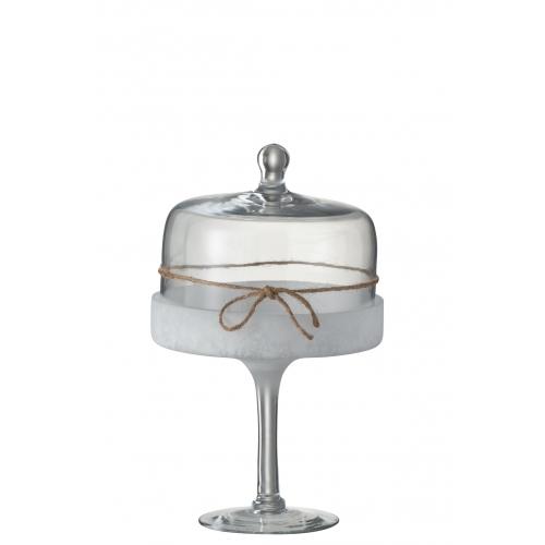 Конфетница  J-LINE стеклянная на ножке с крышкой-куполом  31 см