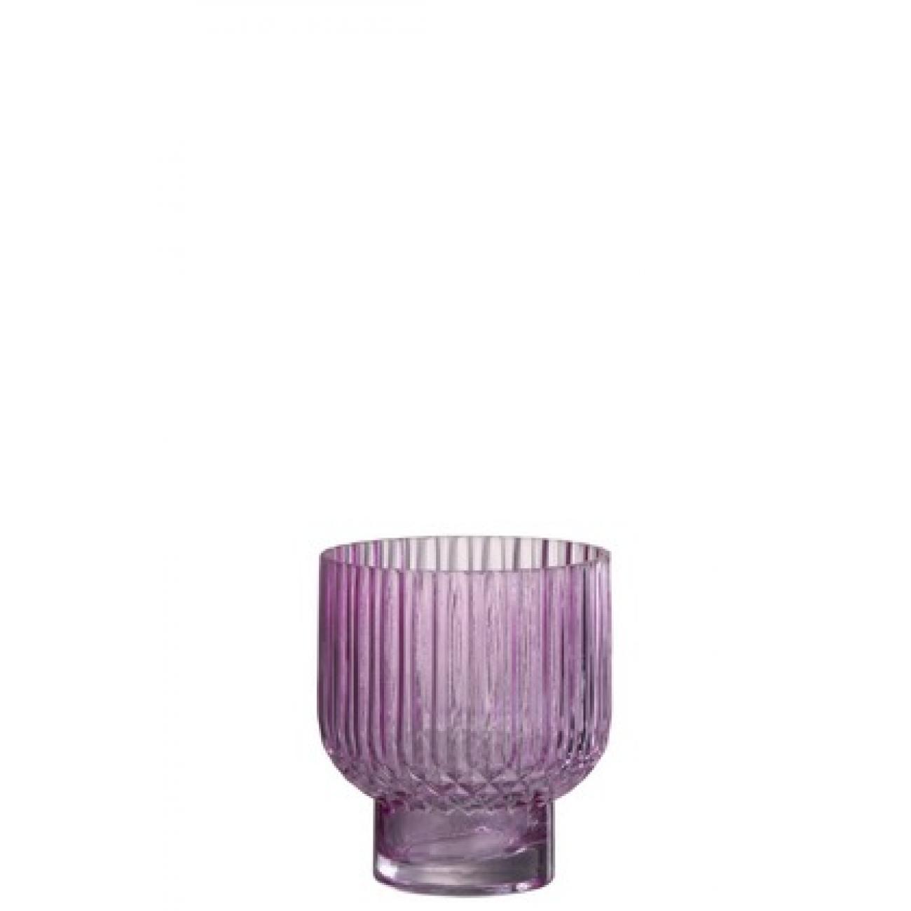 Ваза J-LINE  стеклянная  розовая рельефная 16 см