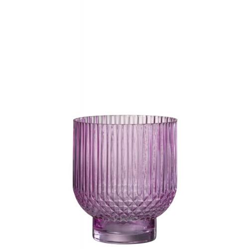 Ваза J-LINE  стеклянная  розовая рельефная  22 см