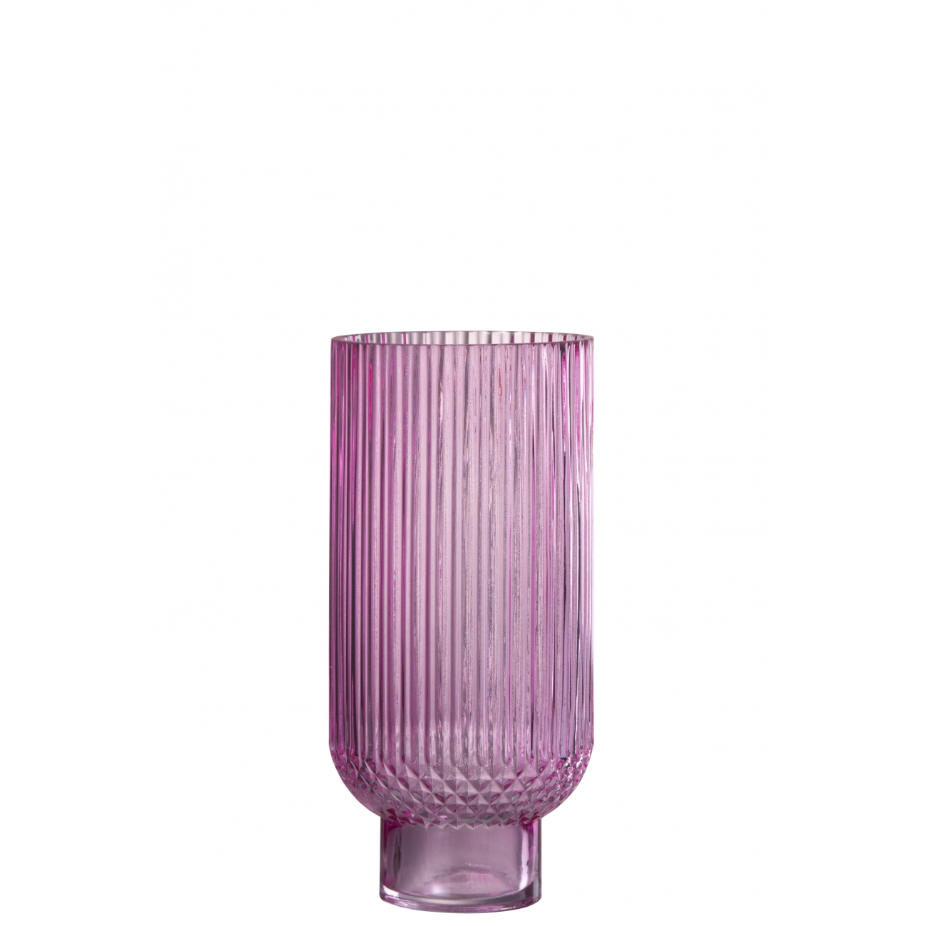 Ваза J-LINE  стеклянная  розовая рельефная 27 см