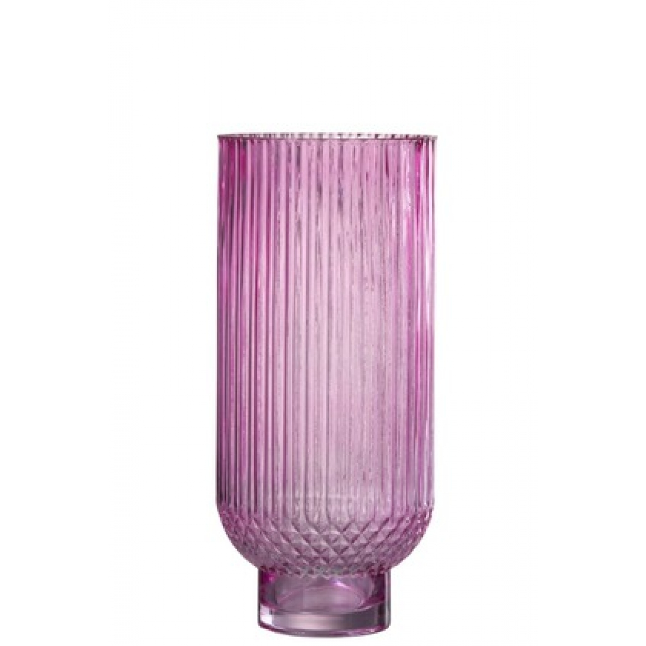 Ваза J-LINE  стеклянная  розовая рельефная  34 см