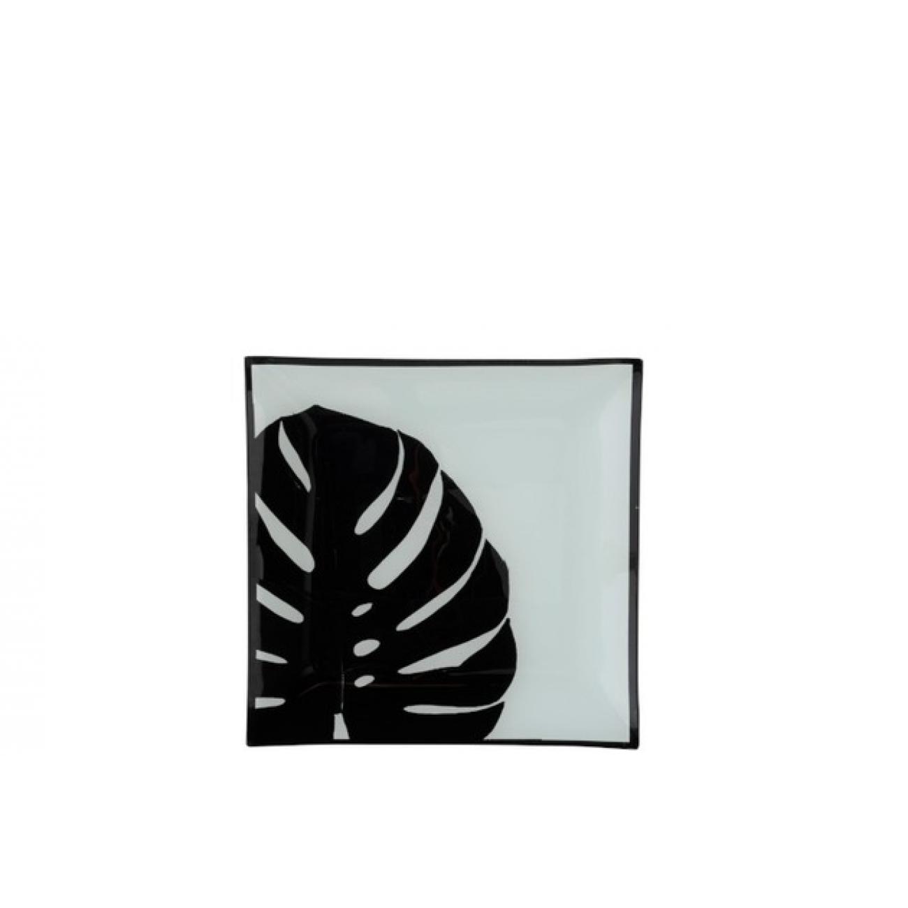 Тарелка стеклянная обеденная J-LINE с черным листом 20х20 см
