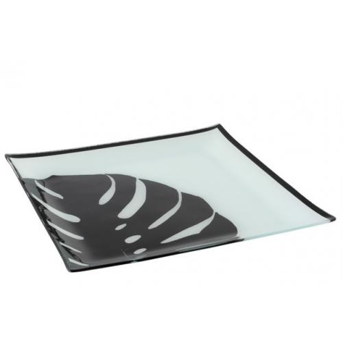Тарелка стеклянная обеденная J-LINE с черным листом 30х30 см