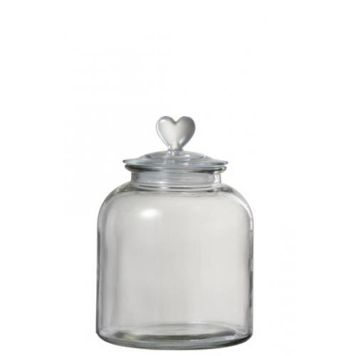 Стеклянная емкость для хранения J-LINE с крышкой с сердечком 18х26 см
