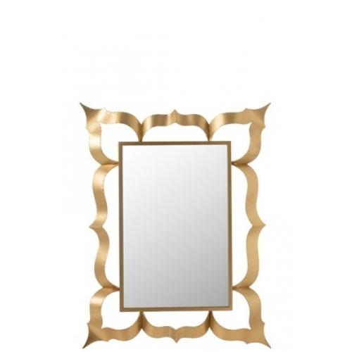 Зеркало J-LINE прямоугольное настенное в золотистой металлической декоративной раме в стиле барокко 101х130 см Бельгия