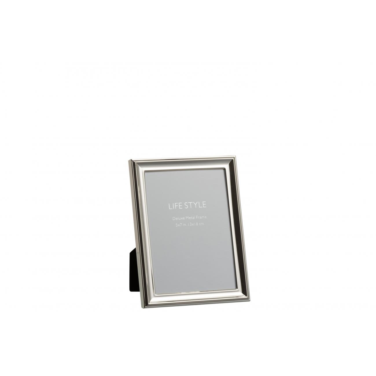 Фоторамка J-LINE металлическая классическая серебристая 13х18 см Бельгия