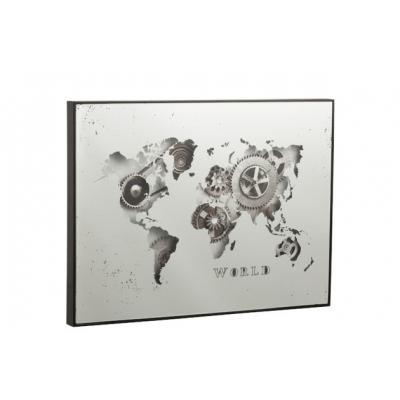 Настенные часы J-LINE прямоугольные в металлическом корпусе зеркальные с видимым механизмом 80х60 см