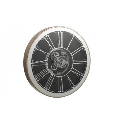 Настенные часы J-LINE круглые в металлическом корпусе  зеркальные с лед-подсветкой диаметр 80 см