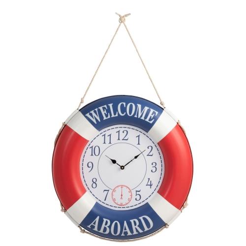 Настенные часы J-LINE круглые синие спасательный круг морская тематика  Welcome aboard