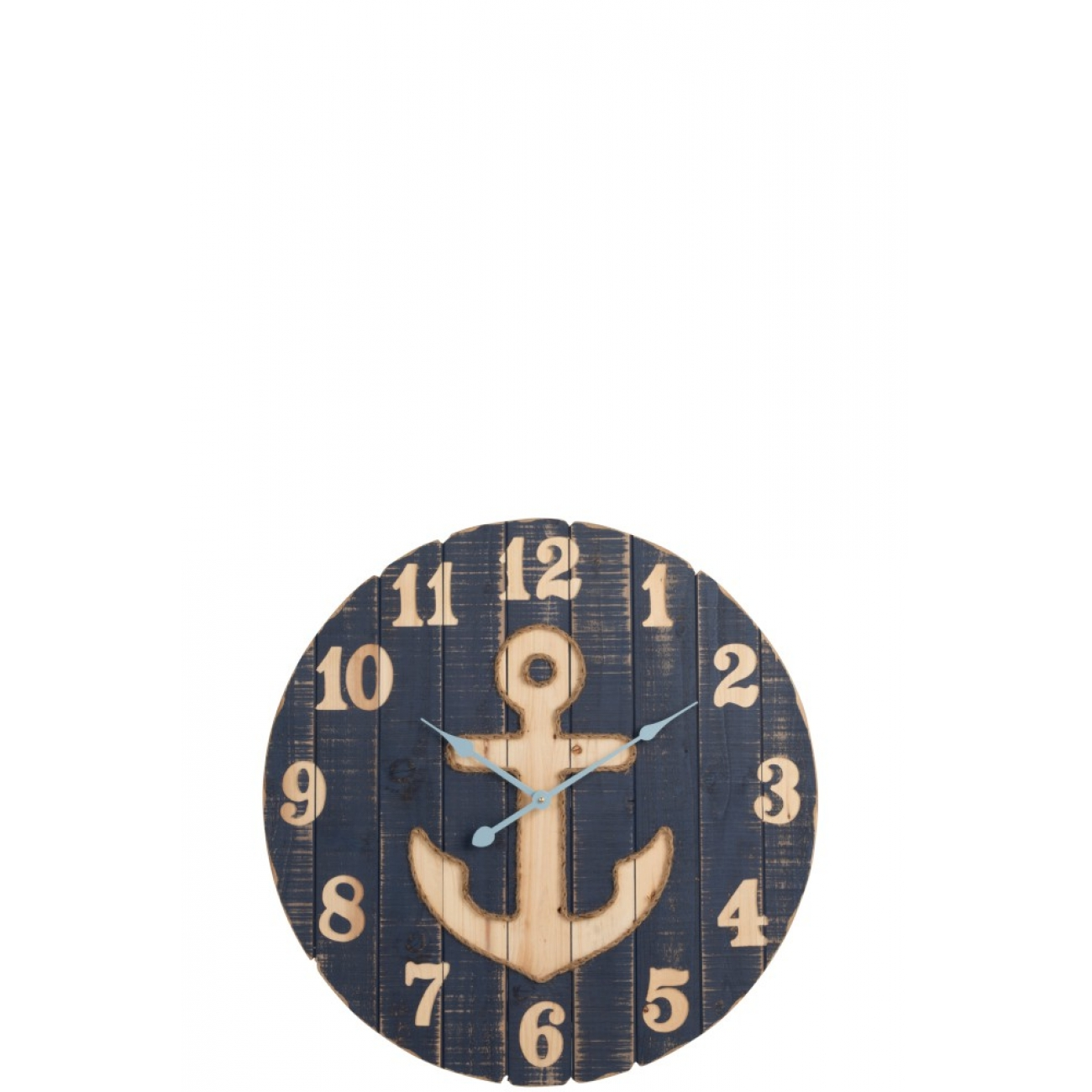 Настенные часы J-LINE круглые синие в деревянном корпусе с якорем морская тематика диаметр 70 см