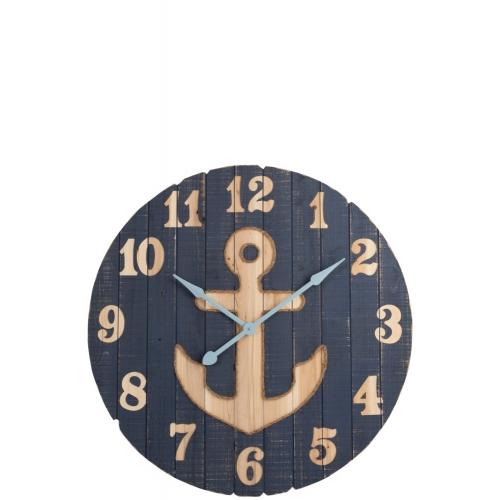 Настенные часы J-LINE круглые синие в деревянном корпусе с якорем морская тематика диаметр 90 см