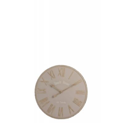 Настенные часы J-LINE  бежевые круглые в металлическом корпусе диаметр 61 см