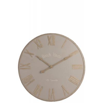 Настенные часы J-LINE  бежевые круглые в металлическом корпусе диаметр 93 см