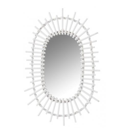 Зеркало J-LINE овальное настенное в фигурной белой раме из натурального бамбука 30х50 см Бельгия