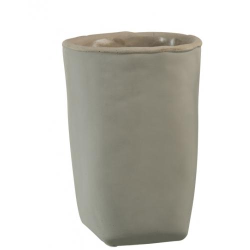 Кашпо J-LINE бетонное в сером цвете 25 см.