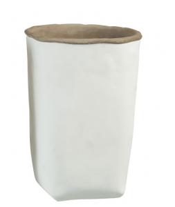 Кашпо J-LINE бетонное в белом цвете 25 см.