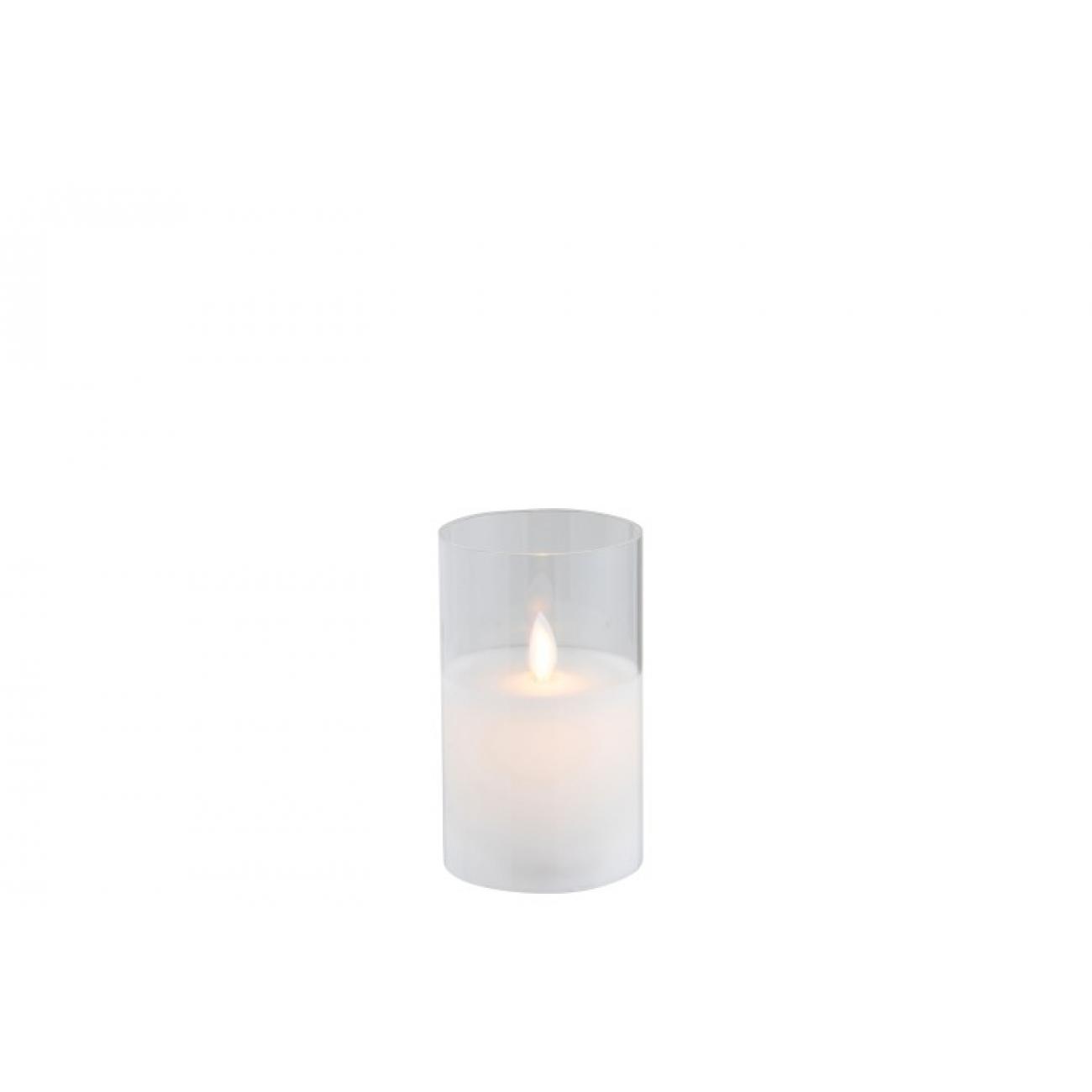 Ночник  J-LINE с имитацией живого огня  белый 13 см