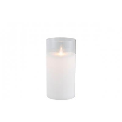 Ночник  J-LINE с имитацией живого огня  белый 20 см