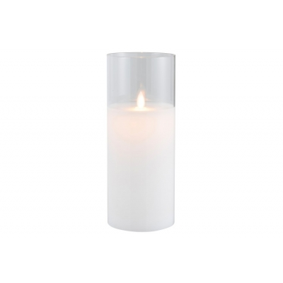 Ночник  J-LINE с имитацией живого огня белый 25 см