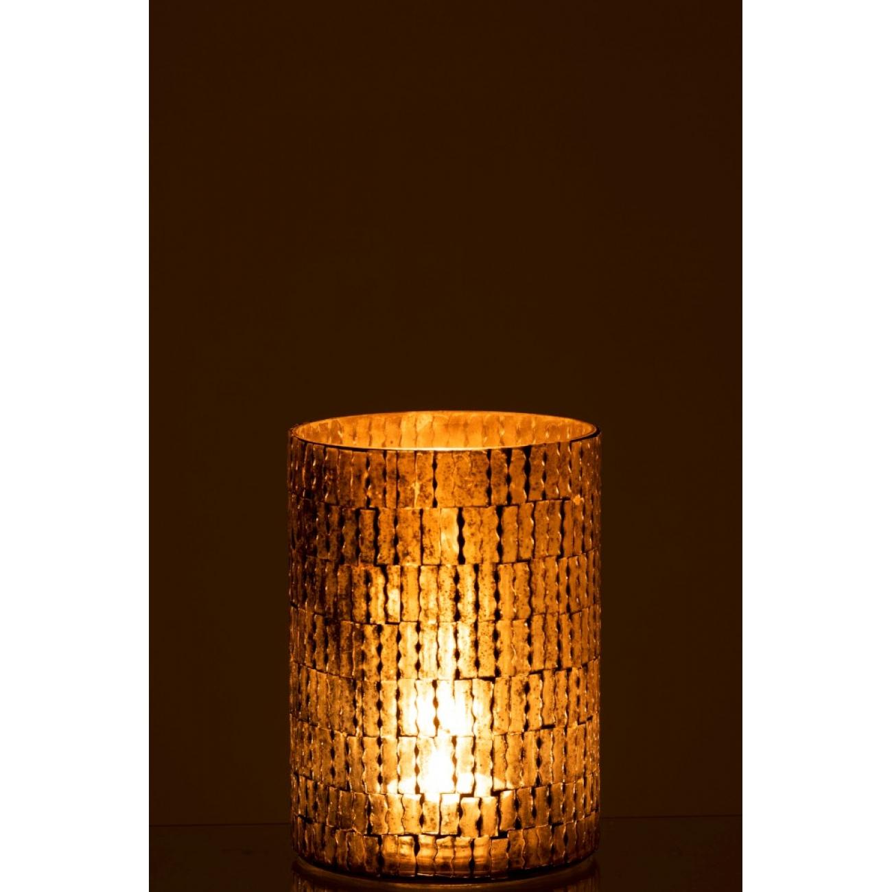 Подсвечник J-LINE стеклянный мозаика коричневых оттенков высота 20 см