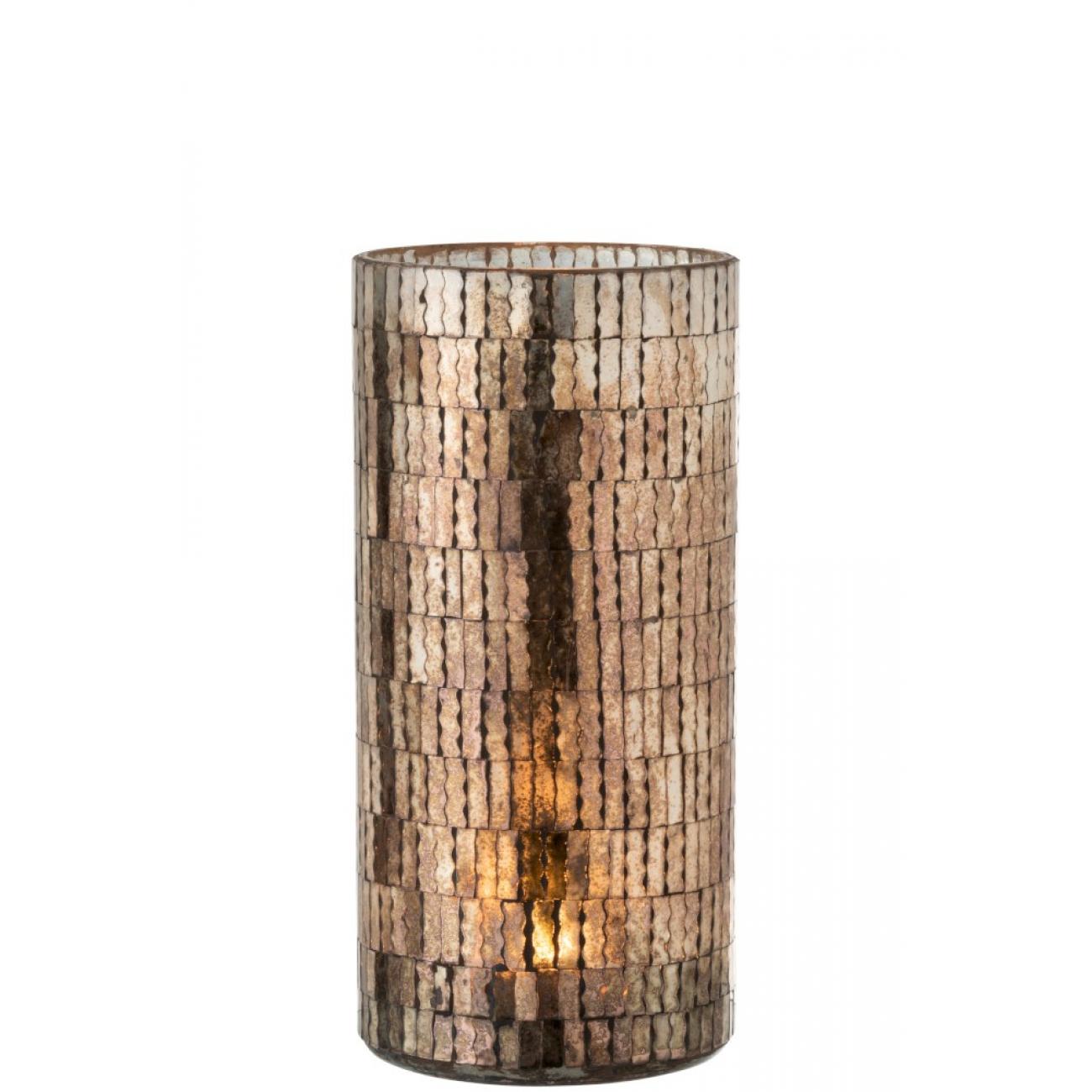 Подсвечник J-LINE стеклянный мозаика коричневых оттенков высота 30 см