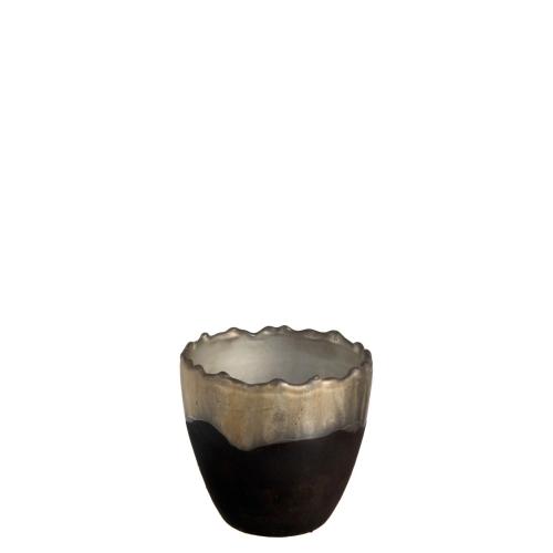 Подсвечник J-LINE стеклянный черный матовый с золотистым кантом высота 9 см