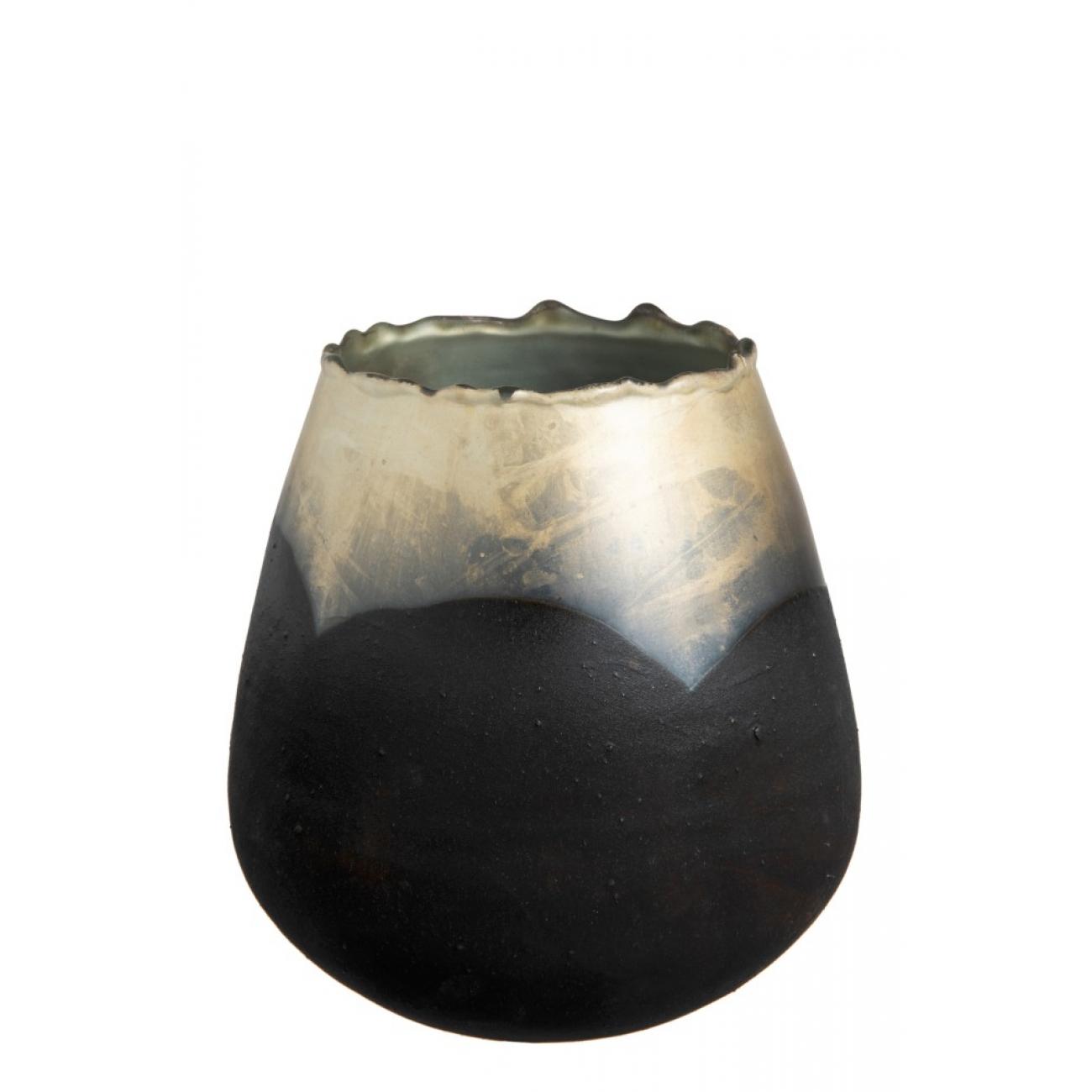 Подсвечник J-LINE стеклянный черный матовый с золотистым кантом высота 18 см