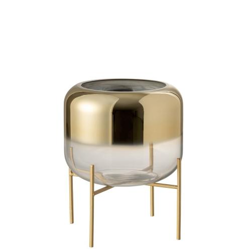 Ваза J-LINE  стеклянная золотая  на подставке 24 см