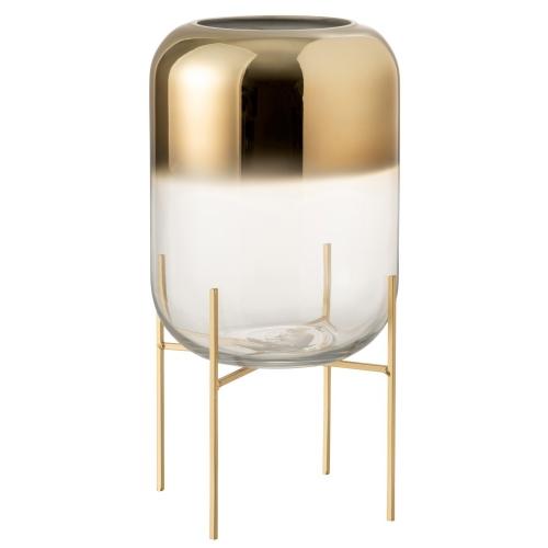 Ваза J-LINE  стеклянная золотая  на подставке 36 см