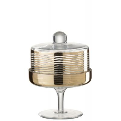 Конфетница золотая  J-LINE стеклянная на ножке с крышкой-куполом  24 см