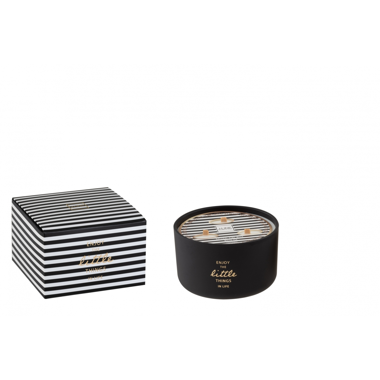 Свеча J-LINE ароматическая  в фарфоровой шкатулке на 3  фитиля черная  Аромат бергамот белый чай и цитрус