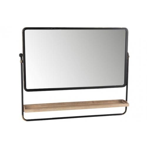 Зеркало J-LINE прямоугольное настенное в металлической раме с деревянной полкой черное 105х85 см Бельгия