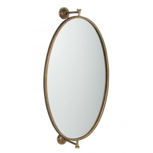 Зеркало J-LINE овальное настенное в золотистой металлической раме с держателем 36х70 см Бельгия