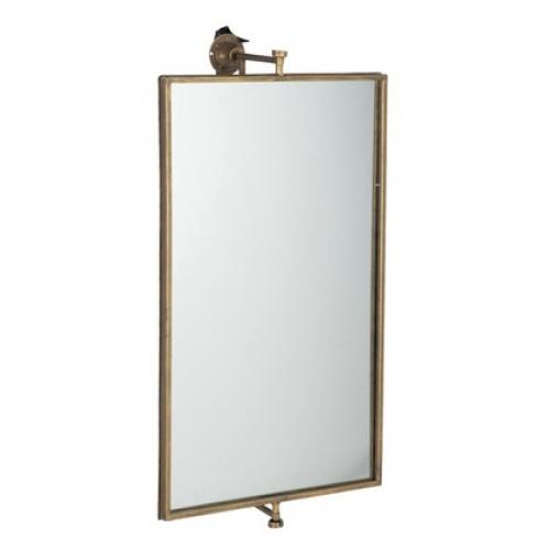 Зеркало J-LINE прямоугольное настенное в золотистой металлической раме с держателем 50х70 см Бельгия