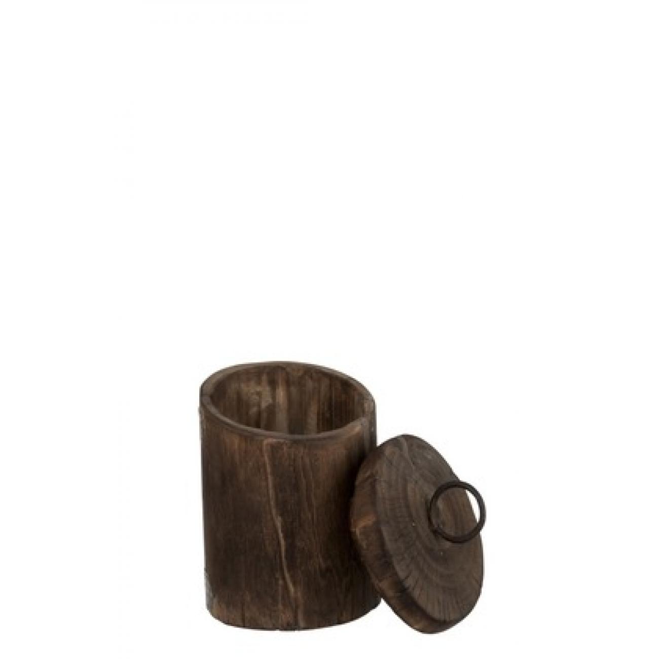 Емкость шкатулка J-LINE  для хранения деревянная коричневая дерева манго высота 21 см