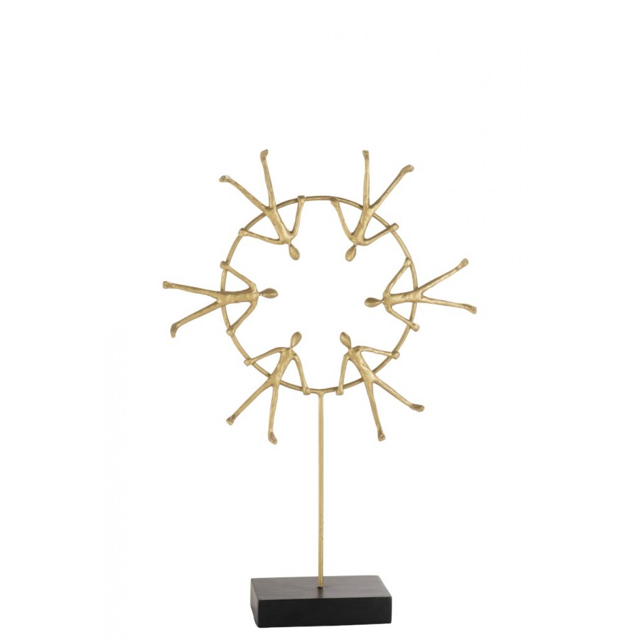 Статуэтка J-LINE люди круг единства золотистая высота 56 см