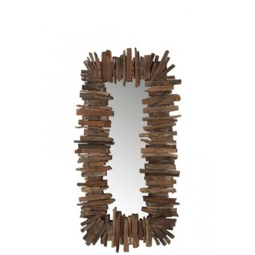 Зеркало J-LINE прямоугольное настенное в деревянной раме с элементами из натурального дерева 75х150 см Бельгия