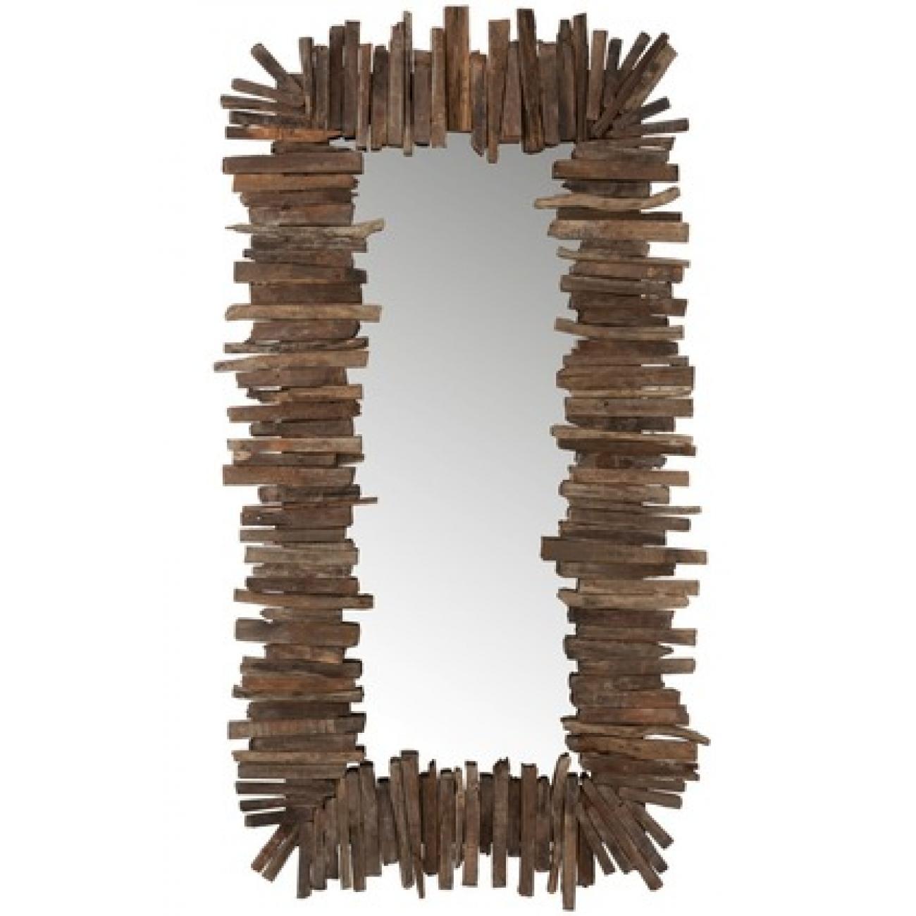 Зеркало J-LINE прямоугольное настенное в деревянной раме с элементами из натурального дерева 95х180 см Бельгия