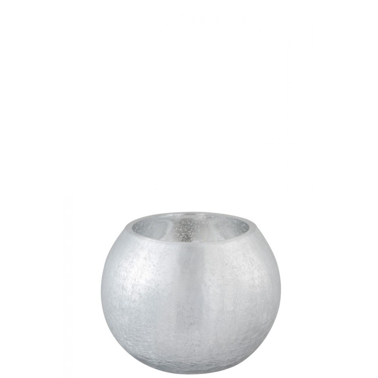 Подсвечник J-LINE стеклянный с эффектом разбитого стекла матовый серебристого цвета 15х15