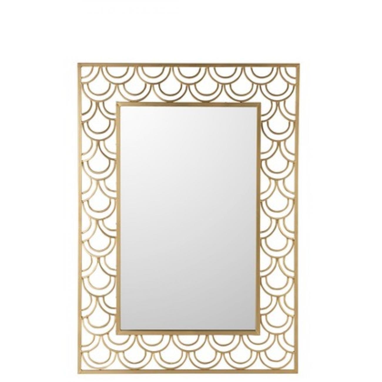 Зеркало J-LINE прямоугольное настенное в золотистой металлической декоративной раме 76х106 см Бельгия