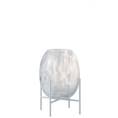 Ваза J-LINE  стеклянная белая с леопардовым принтом на треноге на подставке 23 см