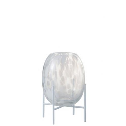 Ваза J-LINE  стеклянная белая с леопардовым принтом на подставке 23 см