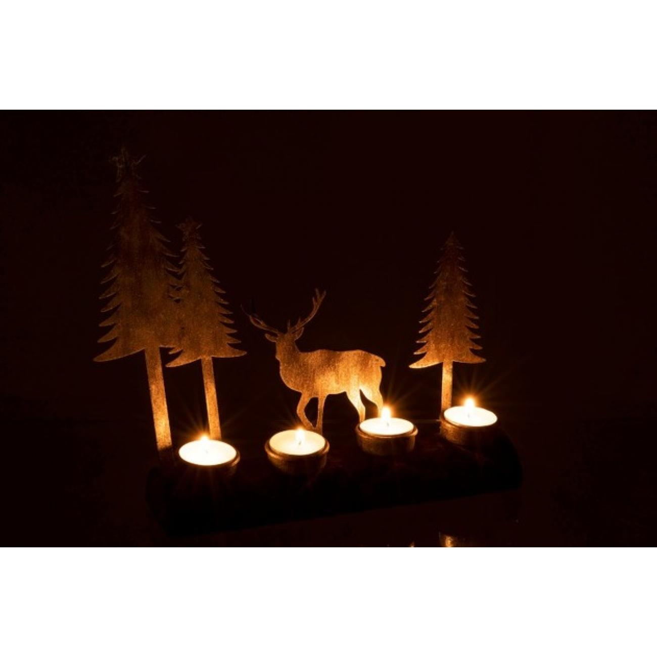 Подсвечник J-LINE новогодний деревянный с металлическими элементами на 4 свечи