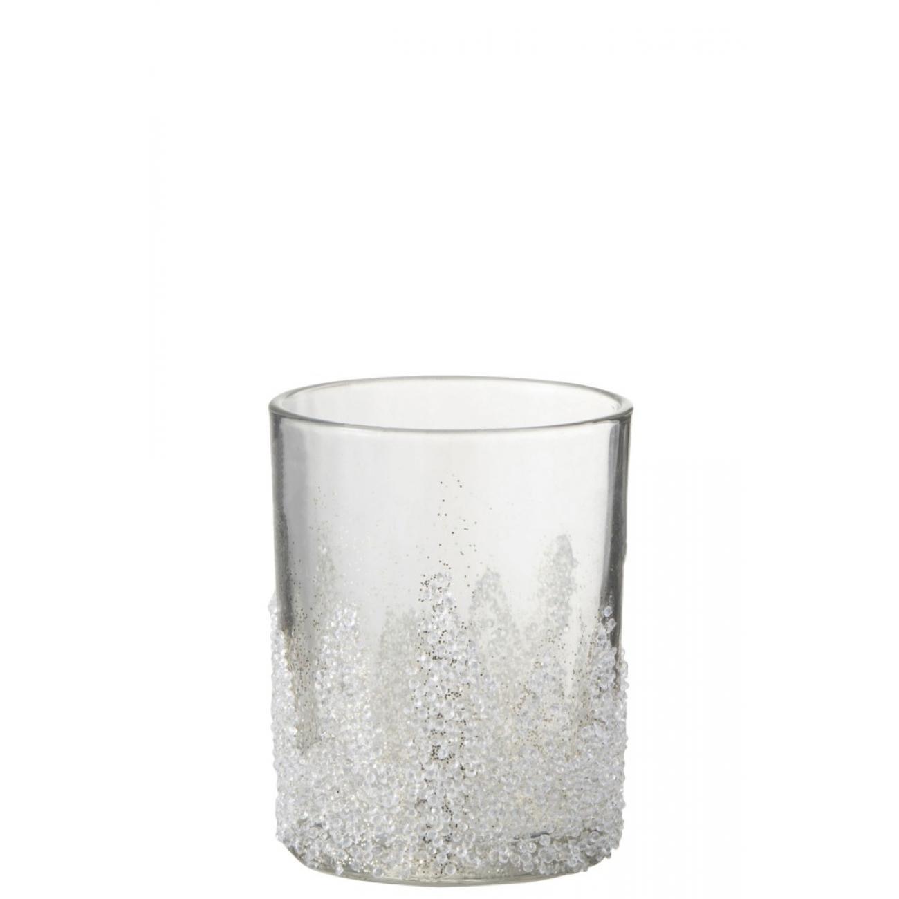 Подсвечник J-LINE стеклянный с бисером 8 см