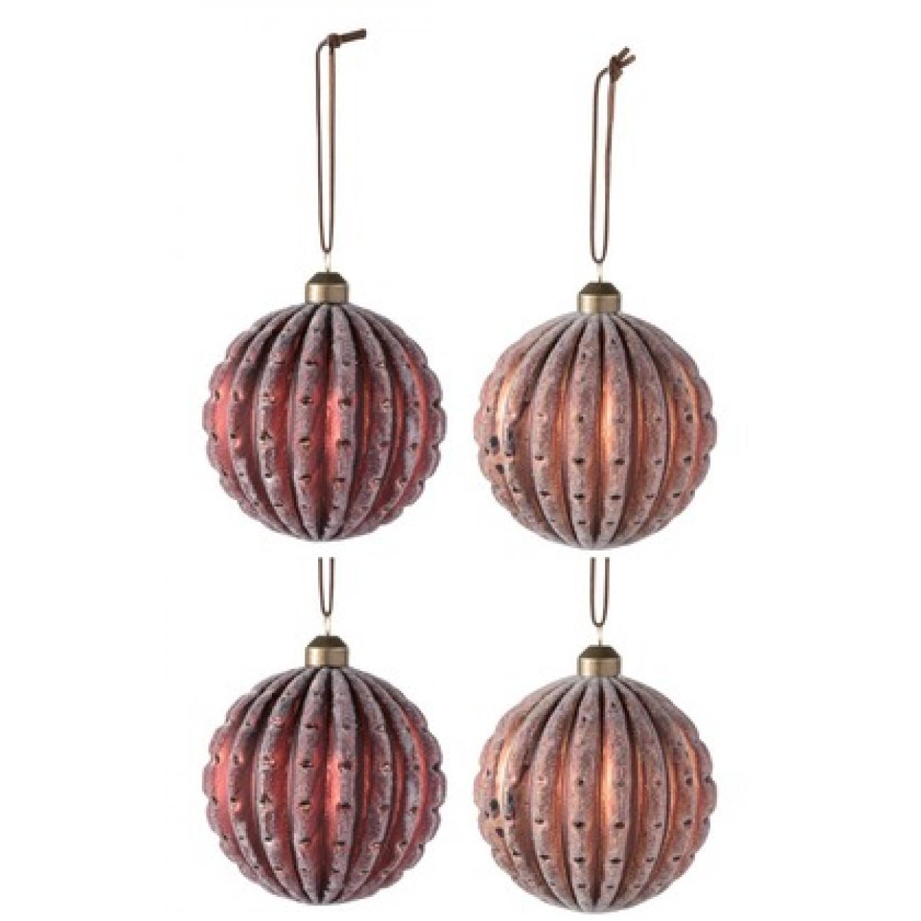 Набор елочных стеклянных шаров J-LINE ребристые красные и бронзовые диаметр 10 см