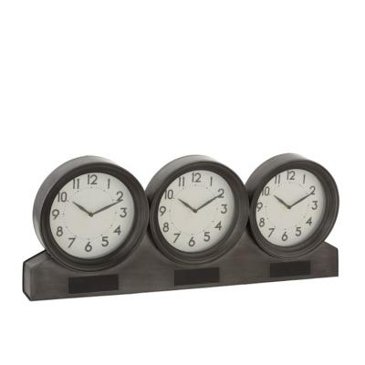 Настольные часы  J-LINE деревянные коричневые с тремя часовыми поясами