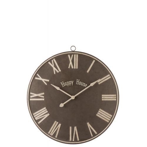 Настенные часы J-LINE овальные коричневые в металлическом корпусе в меньшем размере