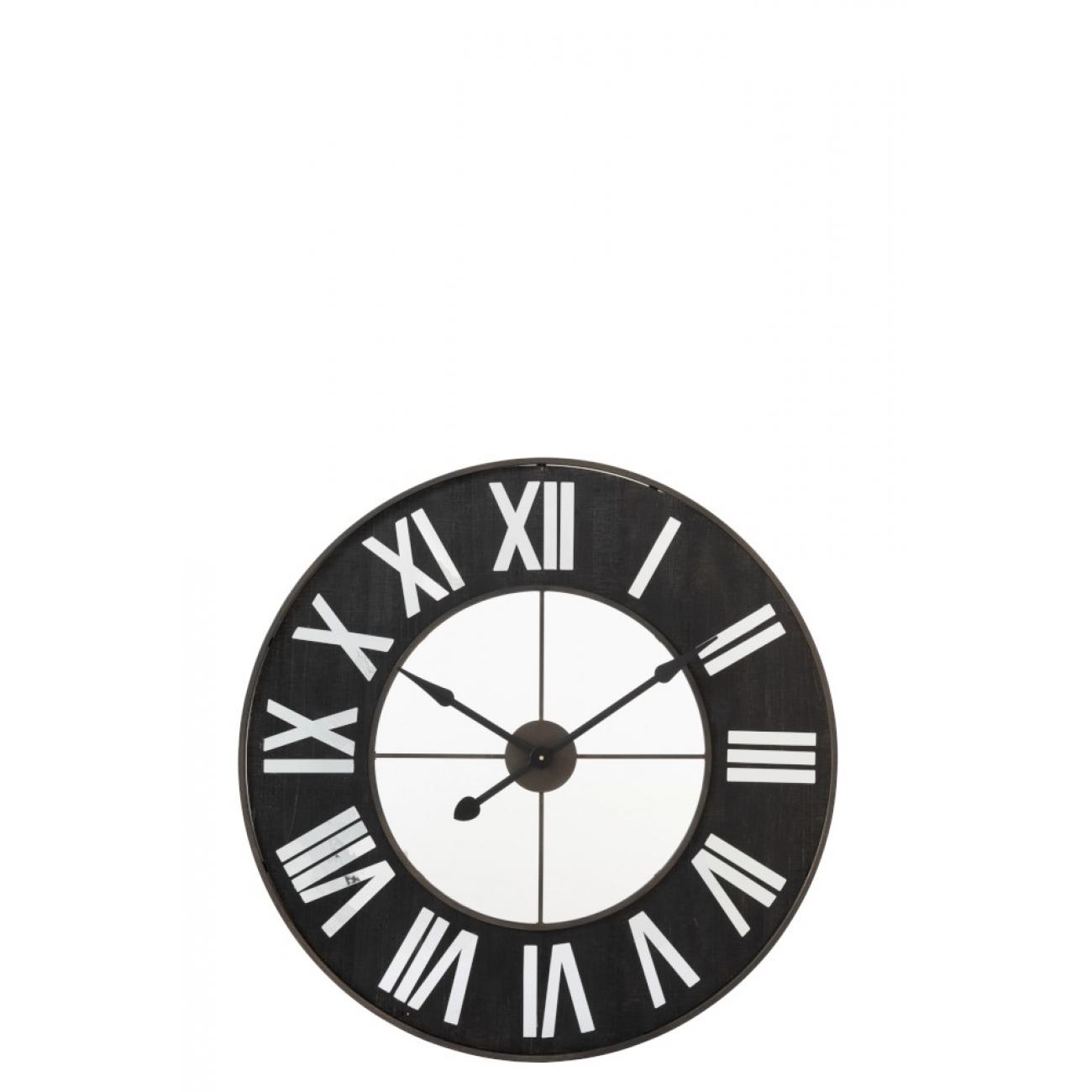 Настенные часы J-LINE круглые черные в металлическом корпусе диаметр 92 см